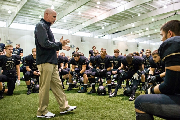 Bentonville coach Barry Lunney Sr. speaking to his players before facing one of the toughest foes of his career.