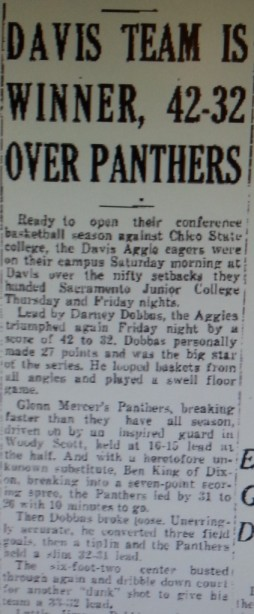 At the end of this passage is the first known reference to a dunk (Jan. 12, 1935; Woodland Daily Democrat)
