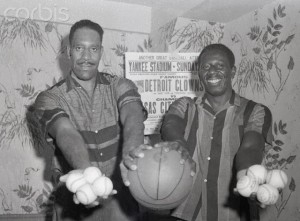 In 1958, Arkansans Nat Clifton (L) and Goose Tatum teamed up again a decade after starring as Harlem Globetrotters