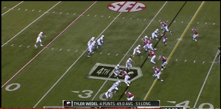 "The Hogs used this ""Geico"" formation to stymie Northern Illinois' fake punt kick attempt."