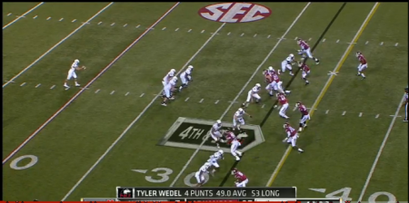 """The Hogs used this """"Geico"""" formation to stymie Northern Illinois' fake punt kick attempt."""