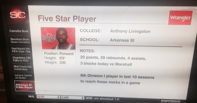 Anthony Livingston got a shout out from SportsCenter on Saturday night.