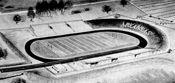 Early black fans were segregated to the track around the first Razorback Stadium.